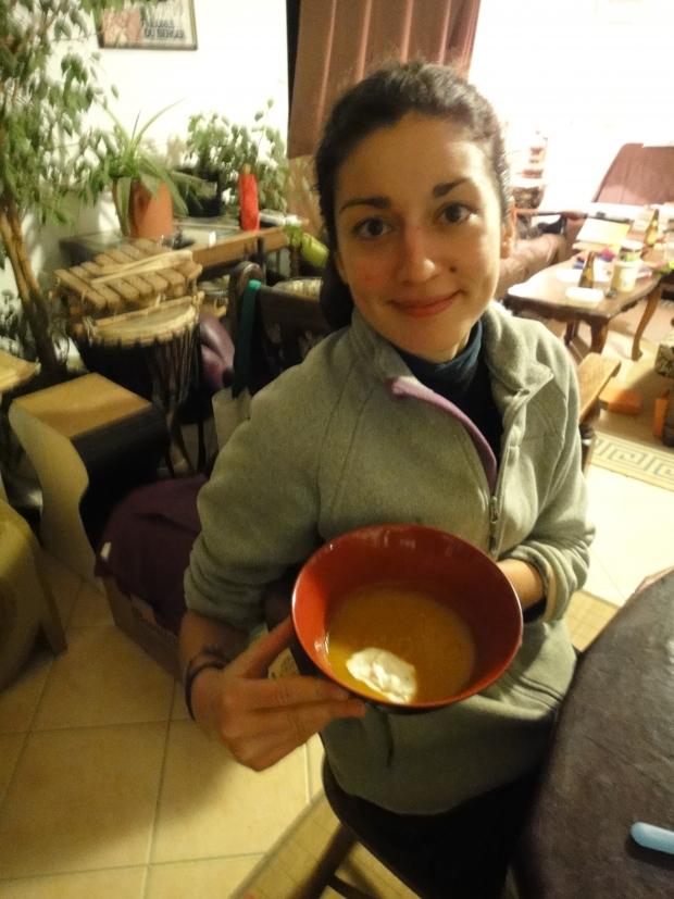 Soupe de courge Olive au jus de mandarine et faisselle