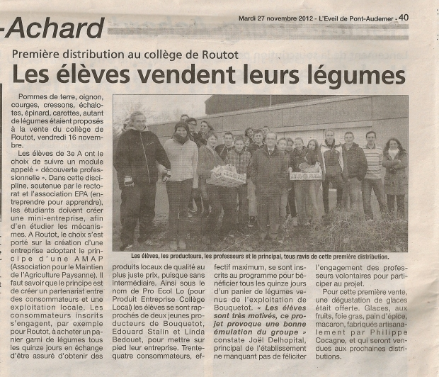 Article dans l'Eveil 29 nov 2012