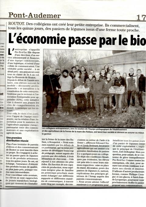 Paris Normandie du jeudi 29 nov : Projet Pro Ecol Lo