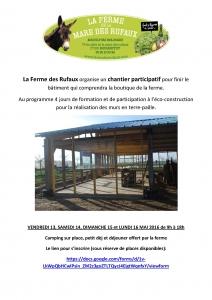 La Ferme des Rufaux organise un chantier participatif pour finir le bâtiment qui comprendra la boutique de la ferme