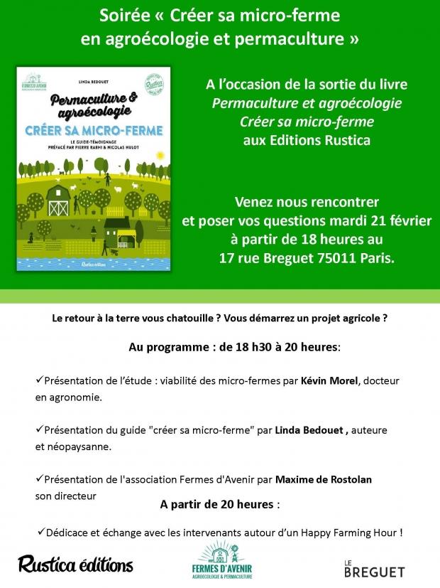 Soirée de lancement du livre «créer sa micro-ferme» en agroécologie et permaculture