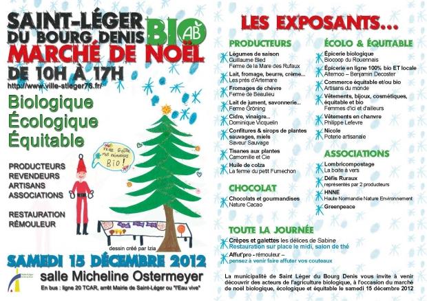 Marché de Noël le 15 décembre à St Léger du Bourg Denis
