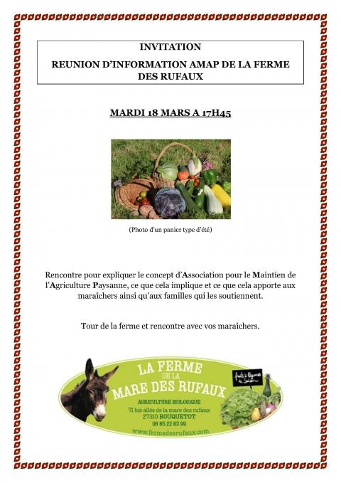Réunion Amap de la ferme ce mardi 18 mars à 17h45