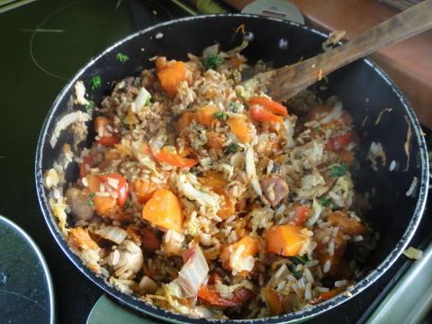 Recette risotto à la courge, lard fumé, poivrons rouge et feta